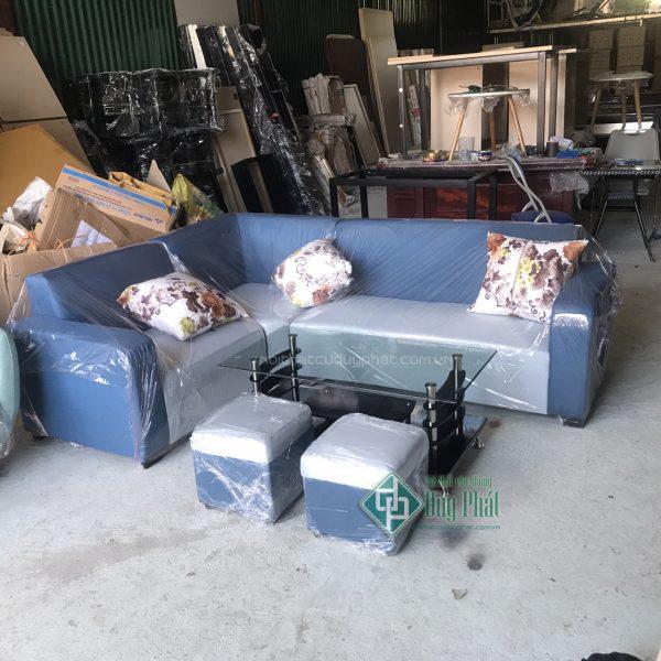 Thanh lý bộ bàn ghế sofa góc màu ghi xanh mới 99% (SFGX3200)