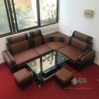 Thanh lý bộ sofa góc đen đỏ bọc da mới 100% (SFG2300-2)