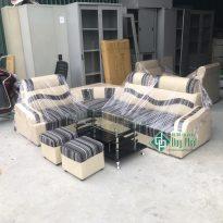 Thanh lý bộ sofa góc da pha nỉ kt 1m6x2m1 màu sọc đen (SFG2500-2)