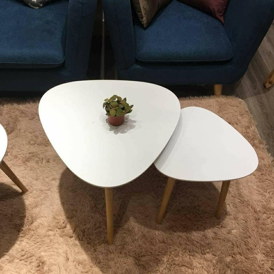 Mẫu bàn sofa đôi mặt kính