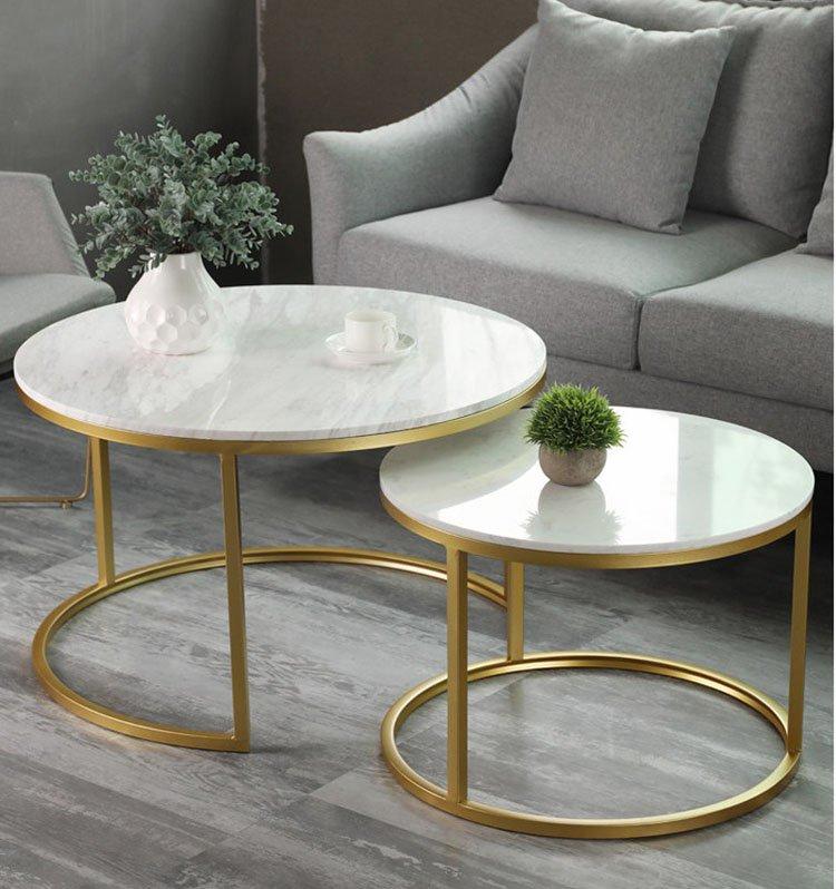 Mẫu bàn sofa đôi sơn mạ vàng