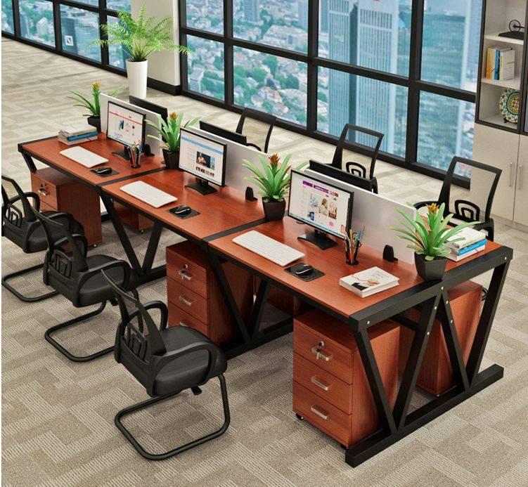 Module bàn làm việc 6 người ngồi cách điệu